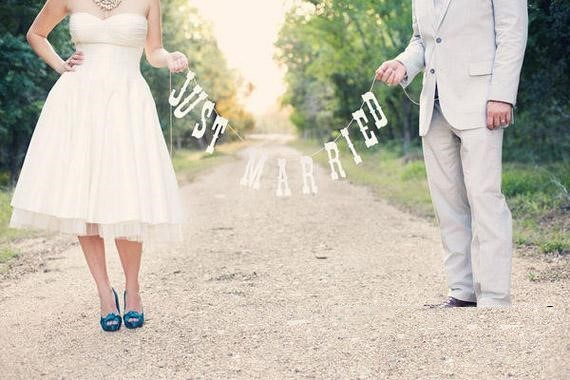 Free shipping just married wedding banner wedding party for Just married dekoration
