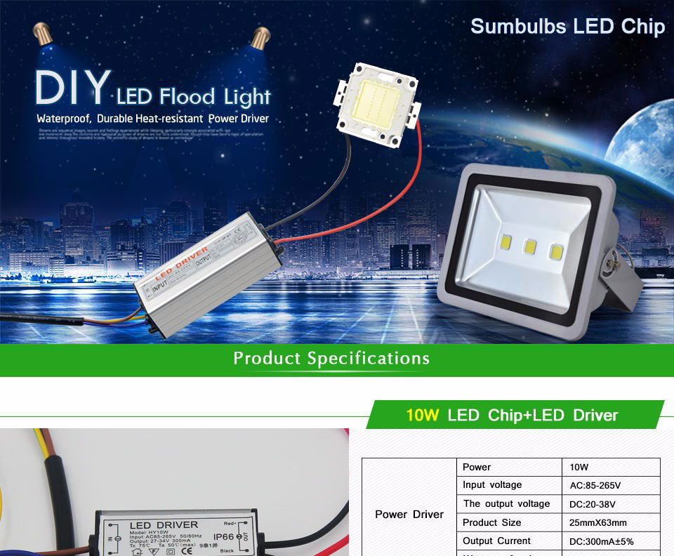 100% Epistar 10W 20W 30W 50W 100W High Power Integrated COB LED Chip On Board Light Source with LED Driver for DIY Floodlight