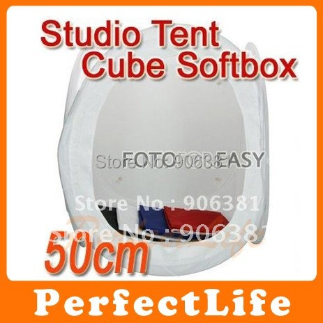 """20"""" 50 x 50cm Light Tent Photo Softbox Cube Soft Box  With 4 Backdrops 1 Carry Case"""