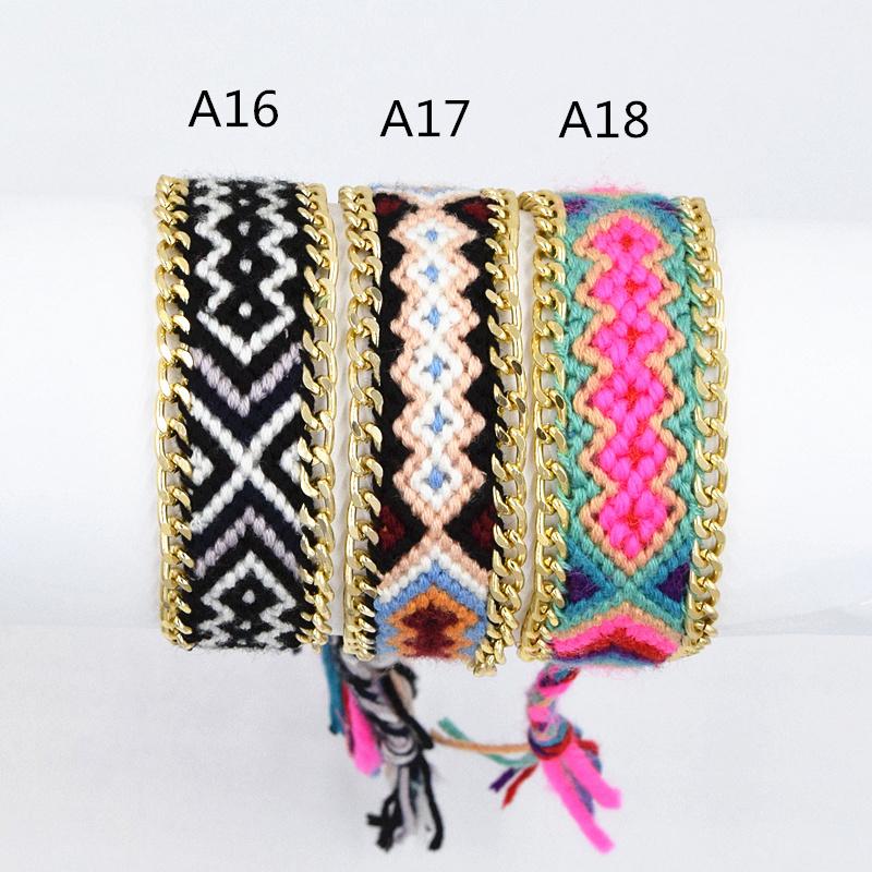 Rainbow Cotton Woven Fashion Friendship Hippy Boho Bracelet For Girls Hot Selling Cotton String Embroidery Women Bracelet(China (Mainland))