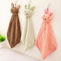 Hot Sale Cute Rabbit Design Hanging Towel Soft Coral Fleece Absorbent Household Kitchen Dishcloth Cartoon Kids