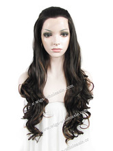Stunning Body Wave Brown Color Highlight Fashion Front Lace Synthetic Wig Free Shipping
