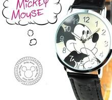 2015 venta caliente moda cuarzo reloj niño Mickey niños de dibujos animados relojes correa de cuero mejor regalos relojes de pulsera
