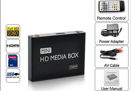 Multimedia player Mini Full HD 1080P HDD Media Player tv box Support HDMI MKV RM SD USB SDHC MMC HDD-HDMI ( BOXCHIP F10 )(China (Mainland))