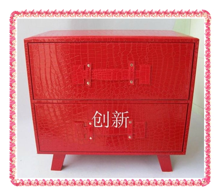 two drawers red crocodile nightstands hot selling(China (Mainland))