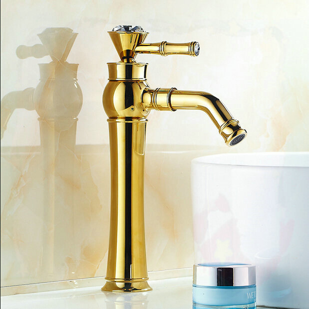 Tall Golden Plated Bathroom Washing Basin Sink Faucet With White Painted Hand