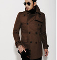 Brown 2015 new autumn winter Double breasted wool coat men fit slim mens pea coat woolen