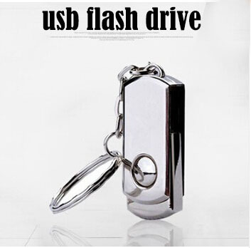 Hot! Stainless Steel USB 2.0 Flash Drive Memory Stick Pen Drive Silver Metal With Key Ring 128M 2GB 4GB 8GB 16GB 32GB 64GB(China (Mainland))