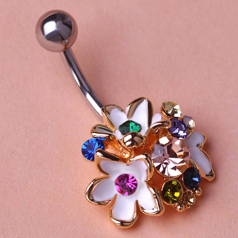 Buy gold esmaltes crystal flowers body for Belly button jewelry store