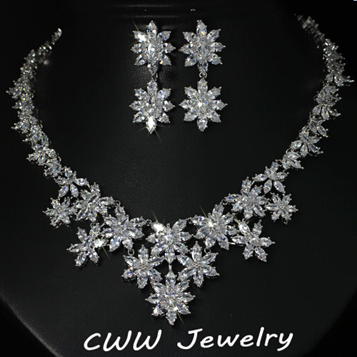 Exquisite White Gold Plated Marquise Cubic Zirconia Diamond Big Flower Wedding Necklace and Earring Bridal Jewelry SetsT150<br><br>Aliexpress