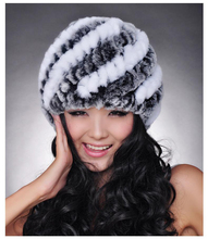 Free shipping New Knitted genuine rabbit fur hat cap women warmer natural rex rabbit fur caps Wholesale customized big size F605(China (Mainland))