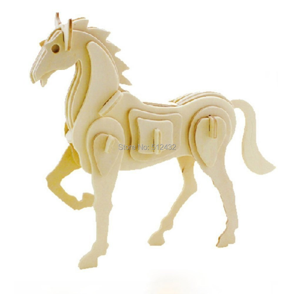 JP207 3D Assembly Wooden Animal Puzzle (Horse)(China (Mainland))