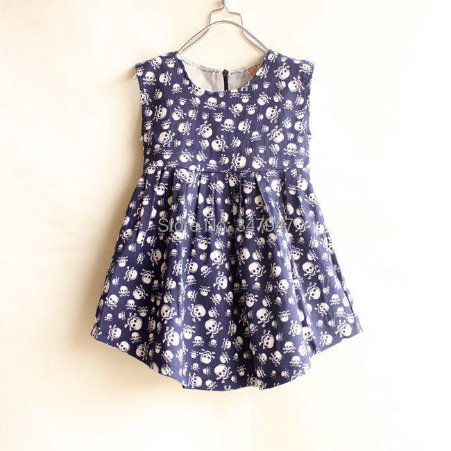 Personality! 2015 Summer Hot Sale Baby Girls Casual Sleeveless Dress Personality Skull Pattern Girl Vestido Girls Clothing(China (Mainland))