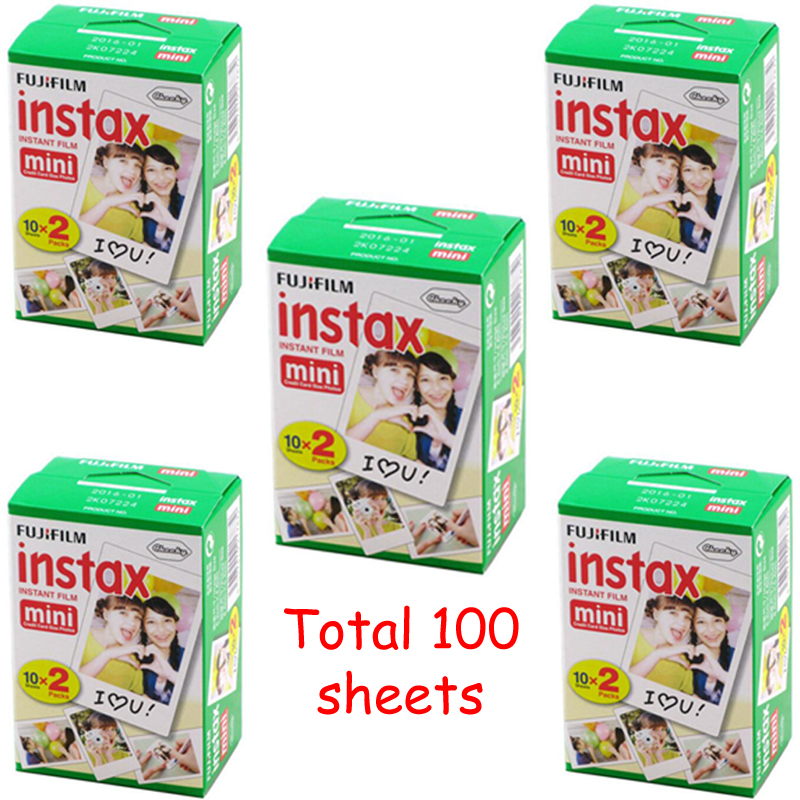 5 Packs 20 sheets 100 Fuji Instax Film Fujifilm Intax Mini 8 Film For 8 50s 7s 90 25 Share SP-1 Instant Cameras White Sheets(China (Mainland))