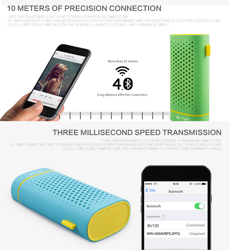 SEE ME HERE BV120 Wireless Bluetooth 4.0 Speaker Subwoofer Power Bank Portable Speakers with TF Card Slot