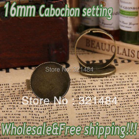 Hot Sale!!! 200pcs Vintage antique brass/bronze Adjustable Ring base blank bezel 16mm teeth cap cabochon setting