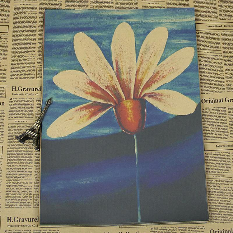 Free shipping JX-054 high quality Retro vintage poster Kraft paper retro flowers paper wall sticker art craft home decor