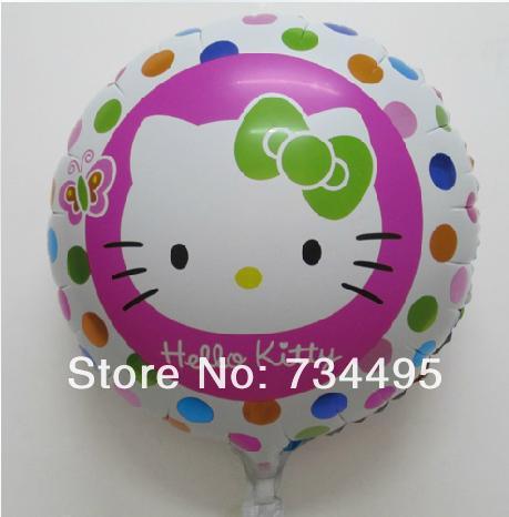 Free shipping,Aluminum Happy Hello Kitty Cat Wedding Birthday Party Decoration Cartoon Foil Dot Polka Purple Balloon ,18inch(China (Mainland))