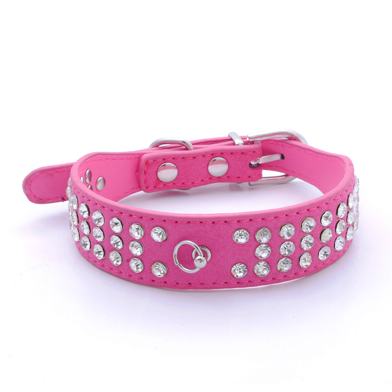 10PS Leather Dog Collars Cat Collars Pet Accessories Dogs Puppy Rose Red 3 Row Clear Rhinestones Diamante 3 Sizes Adjustable Hot(China (Mainland))