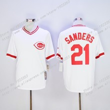 Men's #21 Deion Sanders Jersey Cincinnati Reds Throwback Baseball Jerseys White,Embroidery Logo S~3XL(China (Mainland))