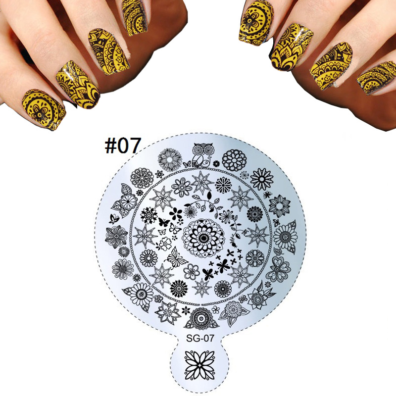 2016 Set Butterfly Flowers Nail Art Templates Handle Beauty Designs Image Polish Stamping Stencils For Nails DIY Plates Decor(China (Mainland))