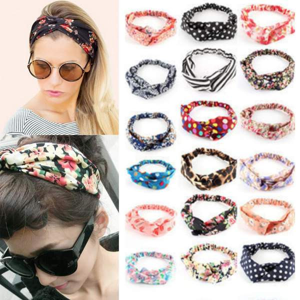 Fashion Women Colorful Flower Elastic Turban Head Wrap Headband Twisted Knotted Hair Band Yoga Hair Accessories(China (Mainland))