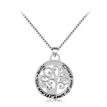 Thank you for raising the man of my dream Pearl Family Tree of life charm Pendant Necklace Silver Engraved Letter Necklaces(China (Mainland))