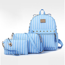Luggage&bags Women Backpack Canvas Backpack Sets New Fashion Thread Mochila Escolar Women Bag Pouch School Backpack 2016(China (Mainland))
