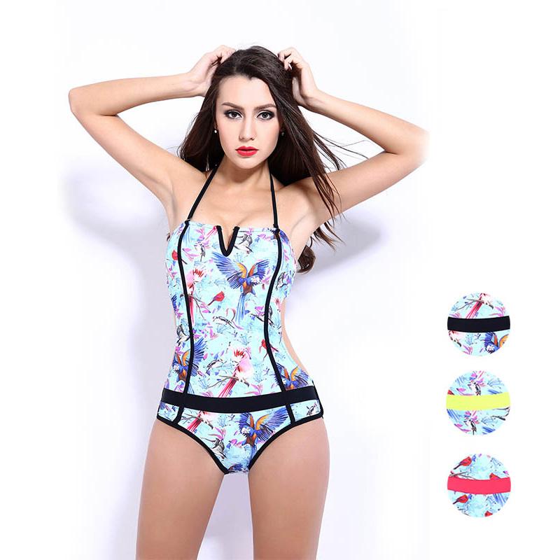 New Backless Women Monokini One Piece Swimsuit Sport Swimsuits Printed Swimwear Underwire Bodysuit Halter Floral(China (Mainland))