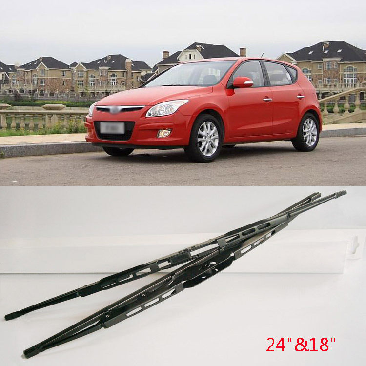Reinforced Steel Frame Rubber Windshield Wipers Blades For U HooK Hyundai i30(China (Mainland))
