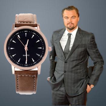 2015 моде кожаный ремешок мода свободного покроя круглый циферблат мужчины кварцевые часы Relojes хомбре. часы мужской Relogio Masculino наручные часы