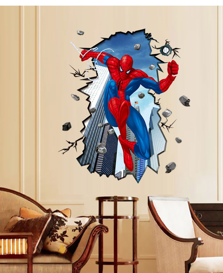 3D Spider Man wall sticker Children s bedroom background personalized fashion removable home decor environmental protection