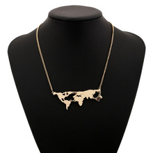 New Fashion gold silver black rose four-color world map globe pendant necklace, Women Fine Jewelry, original DIY Christmas gifts