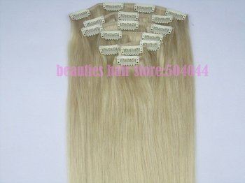 """free shipping 16""""-28"""" 7pcs set 100% soft indian remy hair clips in human hair extensions #613 70g 80g 100g 120g 140g"""