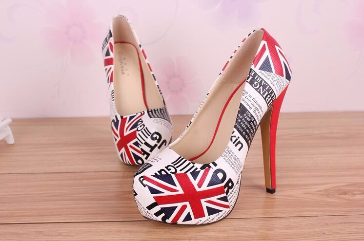 Europe And America Fashion Simple Big Size 43 44 45 Thin Pumps Union Jack Printing Leather Casual Summer Lady Pumps 20161207