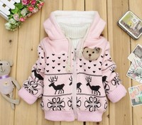 FREE SHIPPING KIDS JACKET CHILDREN'S CARTOON FAWN CASHMERE WINTER COAT Long SLEEVE FASHION BABY COAT GIRL'S COAT BABY JACKET