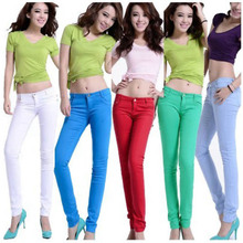 12 Color Slim Women Skinny Candy Color Stretch Low Waist Pencil Pants Trousers Leggings(China (Mainland))