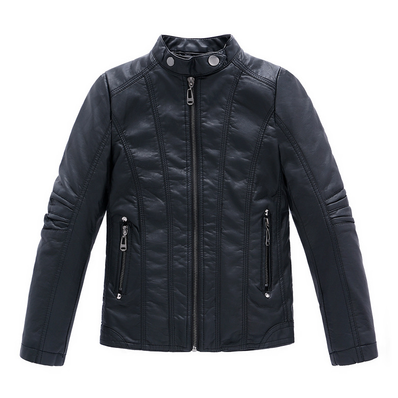 Fashion Boys Leather Jacket PU Leather Solid Black Outerwear Child Casual Jacket For Boys Spring Autumn Kids Jackets Coats 3-14Y(China (Mainland))