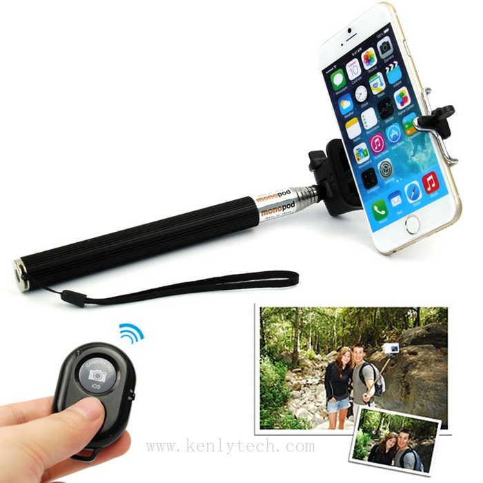 extendable handheld selfie stick monopod bluetooth remote shutter for mobil. Black Bedroom Furniture Sets. Home Design Ideas