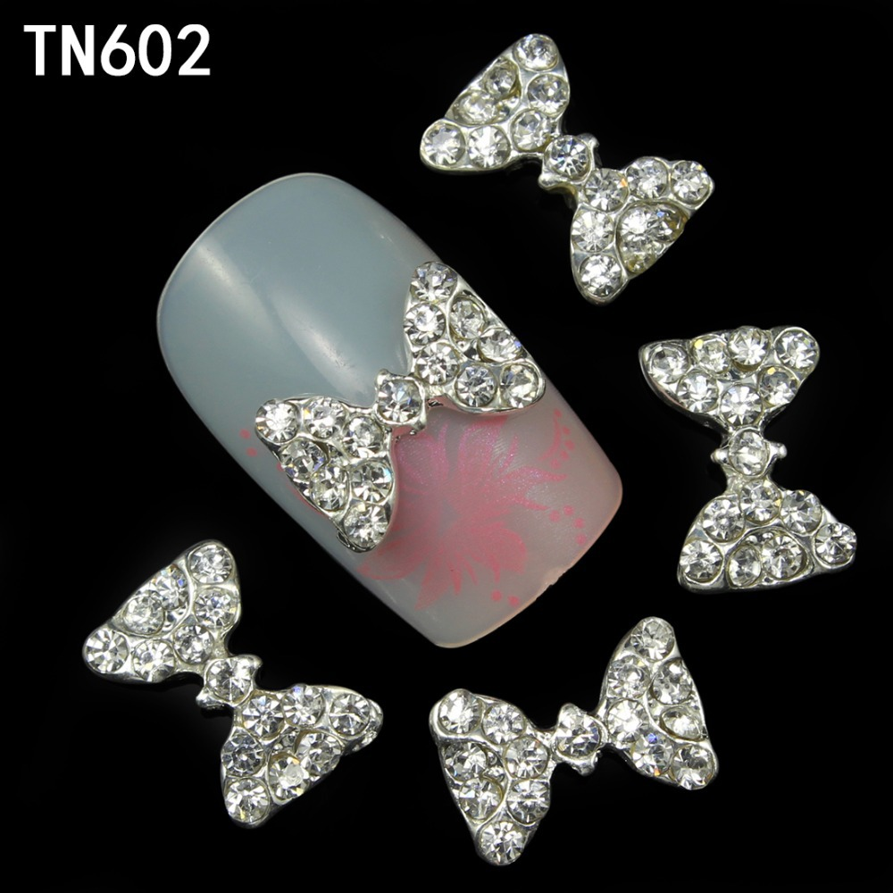 20pcs Glitter 3d Nail Art bow with Rhinestone,Glitter Colourful Nail Decoration Jewelry, Nail Art Decorations TN602(China (Mainland))