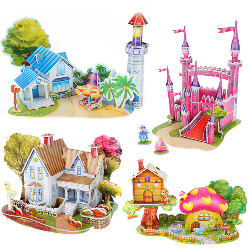 New 3 d three-dimensional jigsaw puzzle selling houses castle building educational model toys Children's toy(China (Mainland))