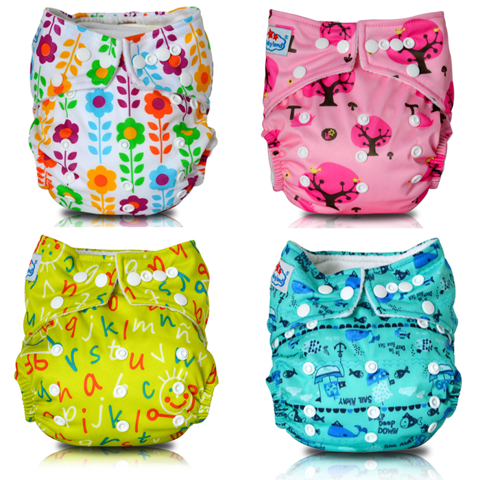 Baby Cloth Diapers Keey Dry Polar Fleece Reusable Baby Diapers Nappy Changing 4 Reusable Nappies (with 4PCS Bamboo Inserts)