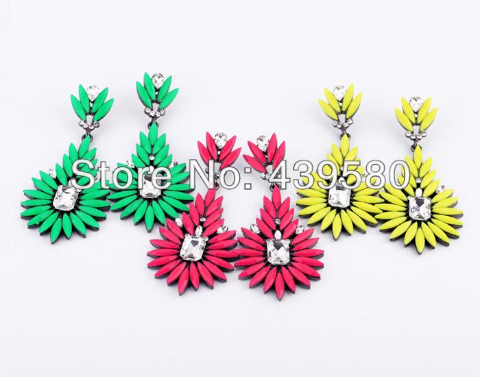 E00349 Manufacture High Quality Factory Costume Jewelry Friendly Women Wholesale Fashion Dangle Acrylic Bohemia Neon Earrings(China (Mainland))
