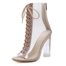 NIUFUNI Plus Größe Frauen Stiefeletten PVC Transparent Hochhackige Regen Stiefel Frauen Schuhe Frühling Herbst Peep Toe Bootie Mujer(China)