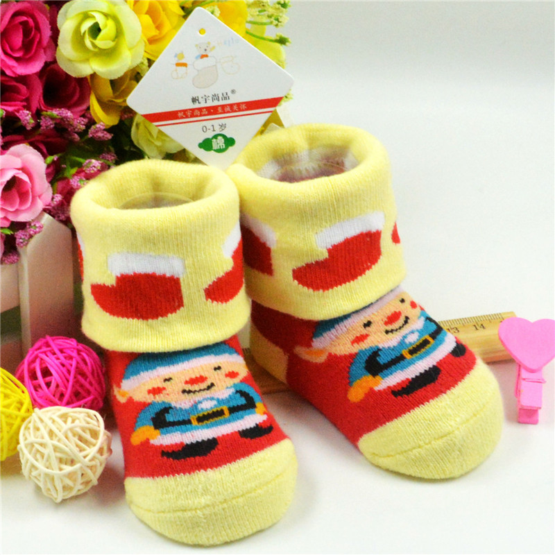 Christmas Themed Children Pure Cotton Cartoon Jacquard Socks Red Christmas Baby Socks Absorb Sweat Permeability Socks PA874324(China (Mainland))