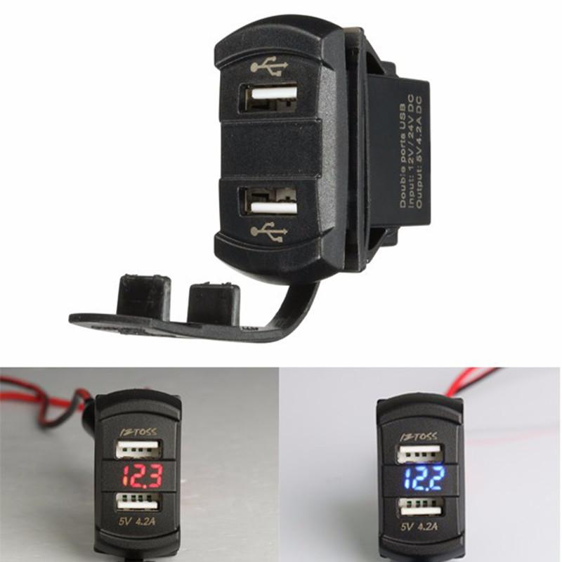 New-12V-24V-Car-Boat-Dual-2-USB-Charger-Green-Orange-Red-Blue-LED-Voltmeter-Voltage