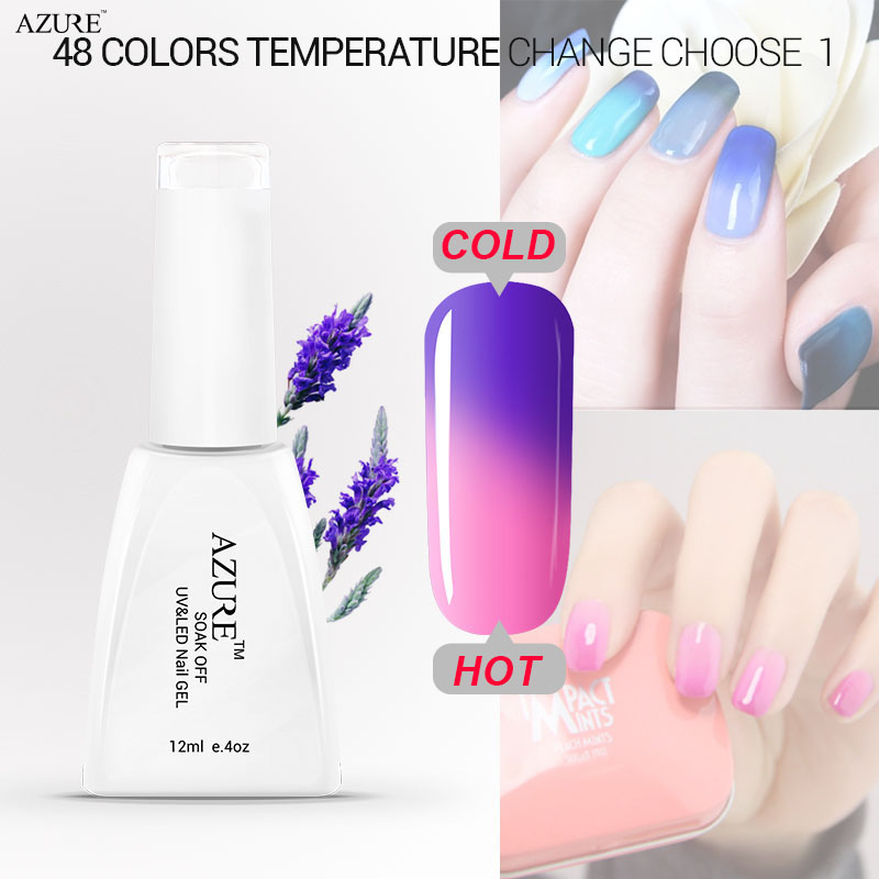 Azure nail gel polish make up changing color with temperature nail tools chameleon nail gel UV 48 colors nail gel polish(China (Mainland))