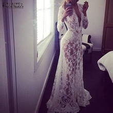 Buy 2017 Summer European Style Womens Sexy Lace Embroidery Maxi Solid White Dress Long Sleeve Deep V Neck Vestidos Plus Size S-XL for $10.85 in AliExpress store