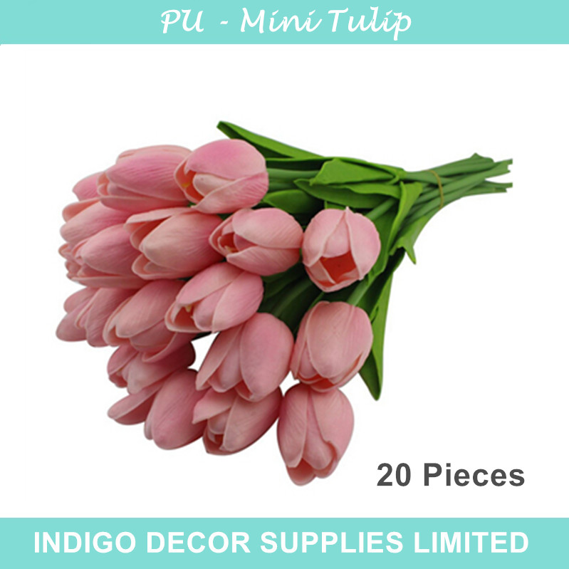 20 pcs High Quality Holland Mini Pink Tulip Decorative Flower PU Real Touch Artificial Flower Wedding Flower Party Free Shipping(China (Mainland))