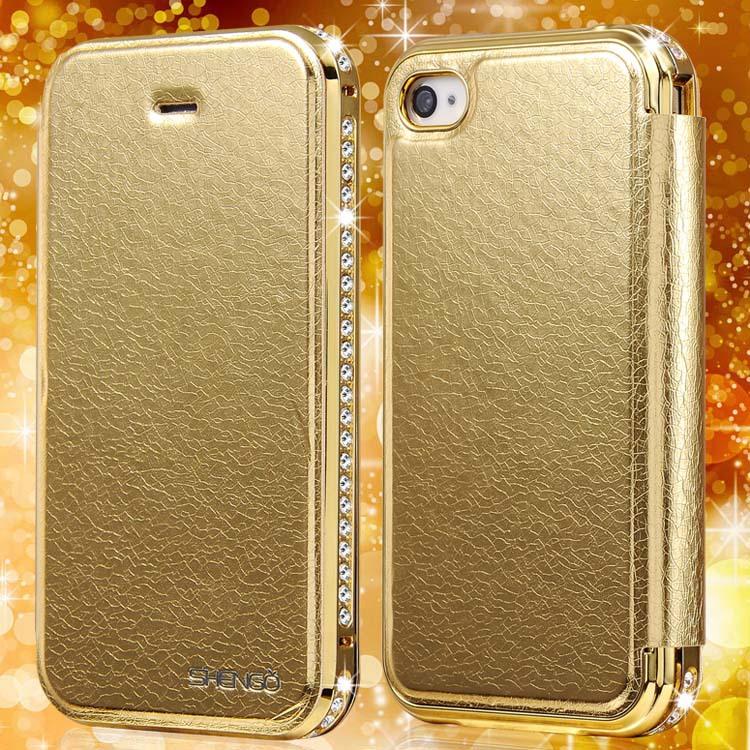 4S Aluminum +Diamond + Flip Leather Case For iPhone 4 4S Luxury Metal Frame With Rhinestone Crystal Phone Bag Cover For iPhone4(China (Mainland))